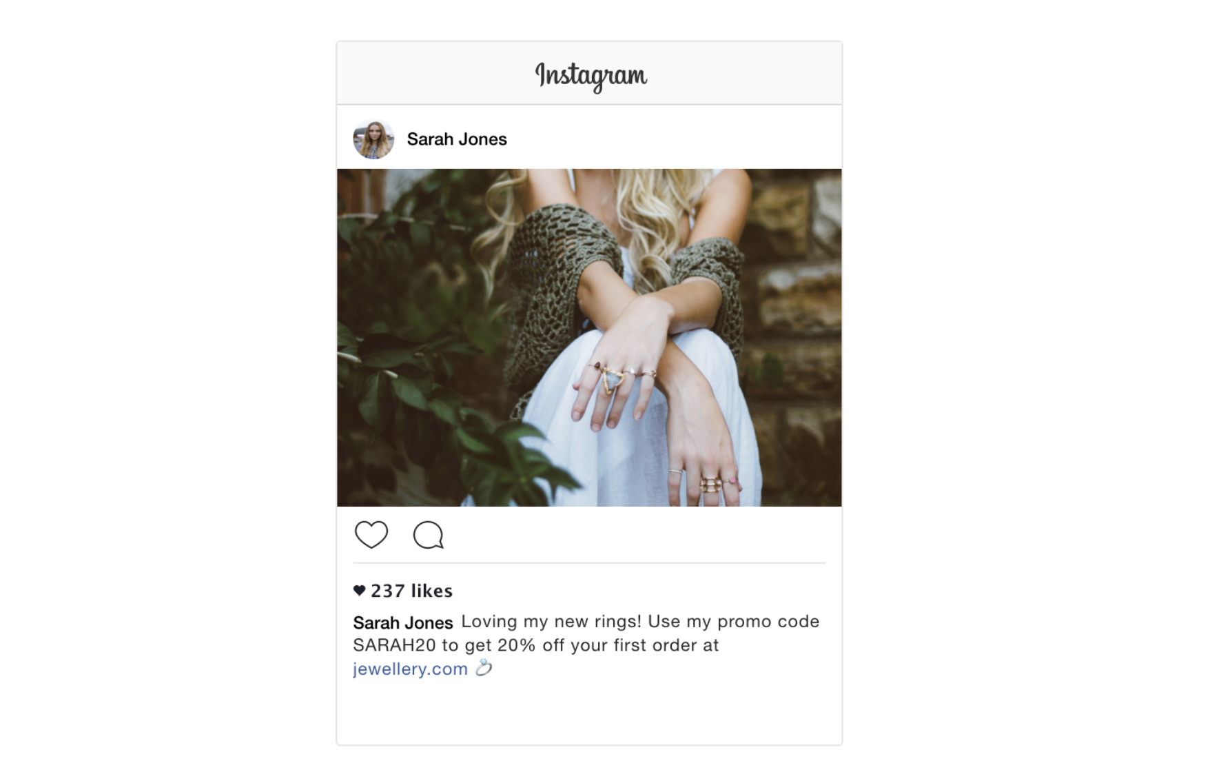 Demo of how promo codes look on Instagram
